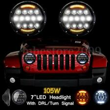 Pair Round 7'' 105W LED Headlight Hi/Lo Beam DRL For Jeep Wrangler JK TJ 97-16