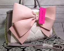 Betsey Johnson Large Cream Blush Quilted heart Large Bow Tote Handbag Purse New!