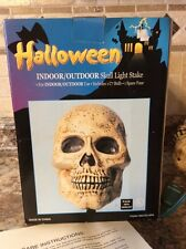 WHITE BLOW MOLD HALLOWEEN SKULL SKELETON FACE LIGHTED INDOOR/OUTDOOR STAKE