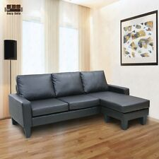 Reversible Corner Sectional Sofa Chaise Leather Couch Loveseat Lounge Suite