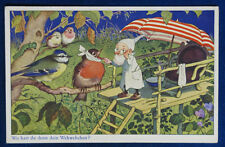 GNOMO UCCELLINI BOSCO gnome forest birds postcard viaggiata anni 40 f/p  #17601