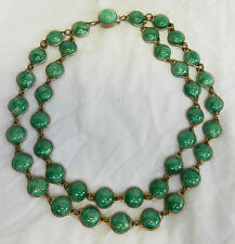 Art Deco Double Strand Linked Bead Peking Glass Necklace - Mottle Green c 1920s