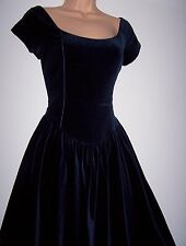 Laura Ashley vintage midnight velvet special occasion Christmas-party dress 14UK