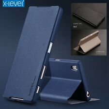 Blue Slim Genuine Leather Stand Flip Wallet Cover Case For Sony Xperia Z3 S001