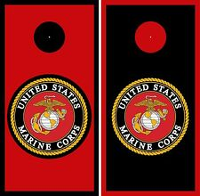 MARINE CORPS matching Cornhole Decal Wrap Set 3M Vinyl Prints