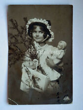 BAMBINA BAMBOLA girl doll toy Natale vecchia cartolina old postcard