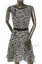 NEW $375 Milly Womens Black Multi Patterned Coco Day Flare Tea Dress 8 STYLECODY