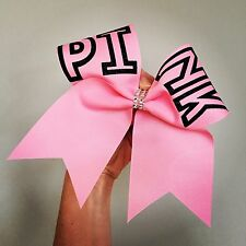 PINK Big Cheer Bow LOVE PINK VICTORIAS SECRET Black Glitter Pink Hair Bow