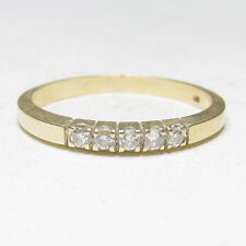 Estate 14K Yellow Gold Five Round Brilliant Cut Diamond Band Style Ring 0.15 Cts