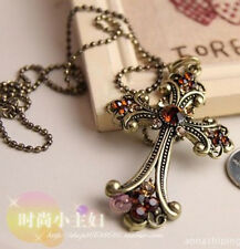 Fashion Charm jewelry Cross Crystal vintage long Pendant Chain Necklace