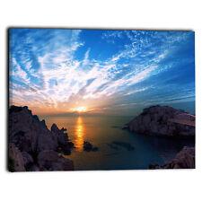 Canvas Wall Art Picture Prints - Large Sunrise Blue Sky Calm Sea Ocean Landscape