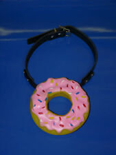 new BIG PINK DONUT real black leather BALL GAG novelty ballgag bondage fetish