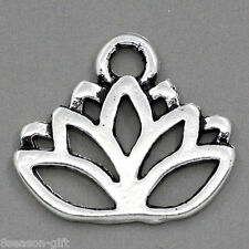 "50PCs Charm Pendants Lotus Flower Silver Tone 17mmx14mm(5/8""x4/8"")"
