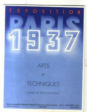 REVUE  EXPOSITION PARIS 1937 ARTS ET TECHNIQUES OCTOBRE 1936 R GIRARD