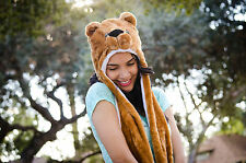 BROWN POLAR BEAR ANIMAL HAT WITH MITTENS