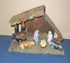 VTG 50'S COMPOSITION NATIVITY SET CRECHE STABLE CHRISTMAS DISPLAY MADE IN ITALY