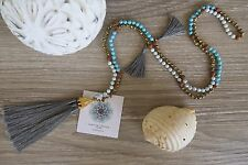 Tassel Necklace Grey Long Crystal Turquoise Wood  Bronze Cocktail Handmade