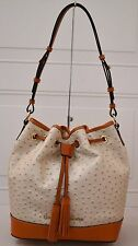 DOONEY & BOURKE DRAWSTRING EMBOSSED OSTRICH  LEATHER PEARL BAG NEW WITH TAG