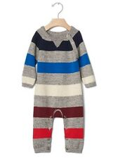 GAP Baby Boy Size 3-6 Months Gray Rugby Striped One-Piece Sweater Bodysuit