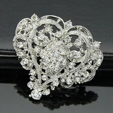 VINTAGE LOOK LARGE GOLD OR SILVER HEART  DIAMANTE CRYSTAL WEDDING/PARTY BROOCH