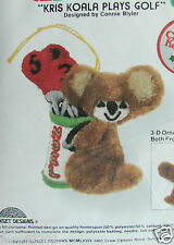 Xmas Ornament Jiffy Stitchery Embroidery Kit, KRIS KOALA PLAYS GOLF Bear