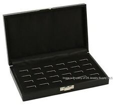 1 Black Wide Slot 12 pair Cufflink or 24 Ring Display Storage Box Case Organizer