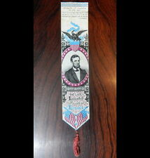 ABRAHAM LINCOLN STEVENGRAPH MOURNING RIBBON / BOOKMARK. Excellent condition, see
