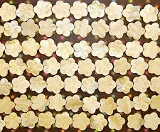 LOOSE MOTHER OF PEARL BEADS-EXTRA LARGE CARVED FLOWER-CREAMY BEIGE-8 BEADS-GIFT