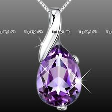 XMAS GIFTS FOR HER - Unique Purple Crystal Necklace Women Gifts for Wife Mum K9