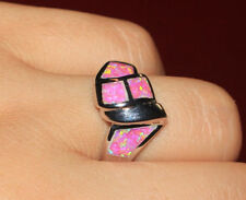 fire opal ring gems silver jewelry Sz 6.5 7.5 8 modern engagement wedding band