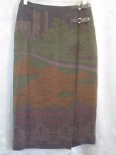 Lauren Ralph Lauren Kilted Long Skirt Size 8P Castle Scene Rayon Wool Blend