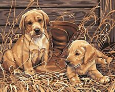 "16x20"" DIY Paint By Number Kit Acrylic Oil Painting On Canvas Dogs Playing 370"