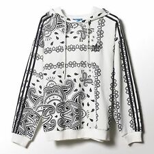 NEW ADIDAS ORIGINALS WOMEN'S PAISLEY LOGO HOODIE WHITE/BLACK AI2892 L