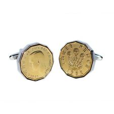 Rhodium Plated Cufflinks with Polished Pre Decimal Thrupenny Bit Coin X2N9969-3P