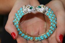 ULTRA GLAMOROUS BLUE CABOCHON & CRYSTAL CAT HEAD BANGLE CUFF ANGELIQUE DE PARIS