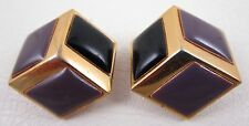 LOVELY VINTAGE GIVENCHY PARIS BROWN BLACK RESIN GOLD EARRINGS 1980