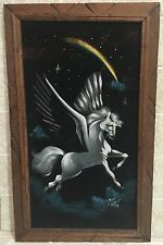 "Vintage Black Velvet Pegasus Painting Mexico Signed 23""x14"" Carved Wood Frame"