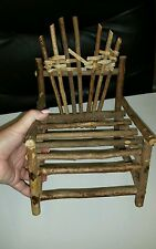 HANDMADE Twig Tree Branch Stick Doll Bear Chair Rustic Primitive Wood Country