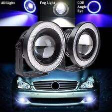 2x Universal 14W 3.5'' COB LED Angel Eyes Halo Car Projector DRL Lamps Fog Light