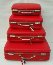 NICE SET OF 4 Vtg American Tourister Hard Shell Luggage Travel Baggage Suitcases