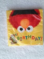 Designware Sesame Street first birthday party beverage napkins Elmo NEW