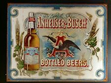 Budweiser Anheuser- Bush Beer TIN SIGN Beer Bottle Vtg Bar Metal Wall Decor