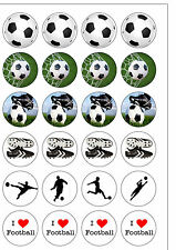 24 PRECUT I Love Football Themed Round Edible Wafer Paper Cupcake Cake Toppers