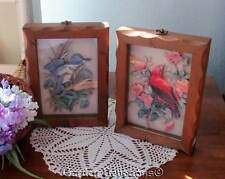 2 UNIQUE VINTAGE 3-D BIRD PICTURES SHADOWBOX STYLE Scarlet Tanager & King Fisher