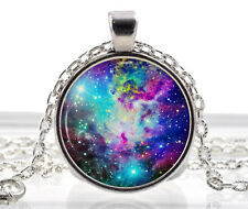 Galaxy Necklace Pendant - Fox Fur Nebula Rainbow Jewelry - Purple Star Sun Moon