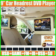 "9"" Inch Twin Dual 2 X PORTABLE In Car Headrest DVD Player LCD Screen USB SD Game"