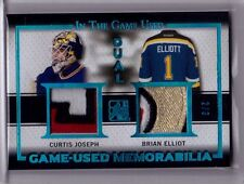 CURTIS JOSEPH BRIAN ELLIOT 15/16 Leaf In The Game Used Dual BLUE Patch #d 2/3 SP