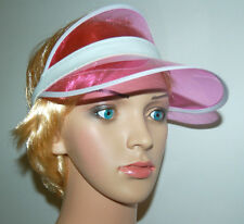 PINK SUN VISOR. QUALITY SUMMER ACCESSORY. STRONG FLEXIBLE. SPORTS, HEN, FESTIVAL