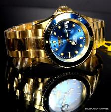 Invicta Pro Diver Swiss Sellita SW200 Automatic Steel Blue Gold Plated Watch New