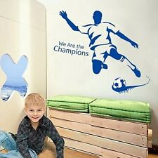 FOOTBALLER BLUE SPORT POSTER BOYS ROOM WALL ART STICKERS HOME DECAL DIY DECOR